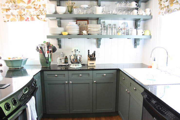 Green cabinets cottage kitchen sherwin williams for Grey green kitchen cabinets