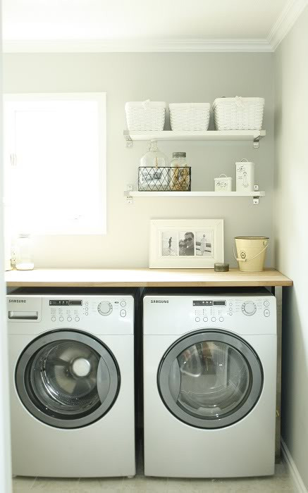 laundry shelves country laundry room. Black Bedroom Furniture Sets. Home Design Ideas