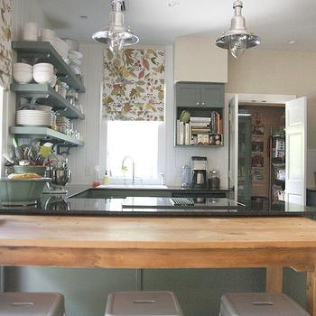 Green Kitchen Cabinets, Cottage, kitchen, Sherwin Williams Rosemary, Urban Grace Interiors