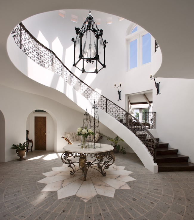 House Plans Foyer Entrance : Story foyer mediterranean entrance