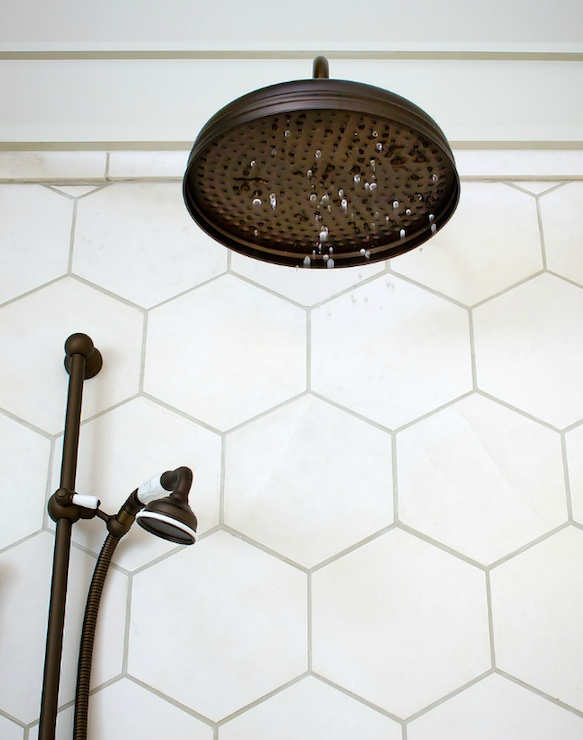 Hexagon Tile Shower Transitional Bathroom Brandon