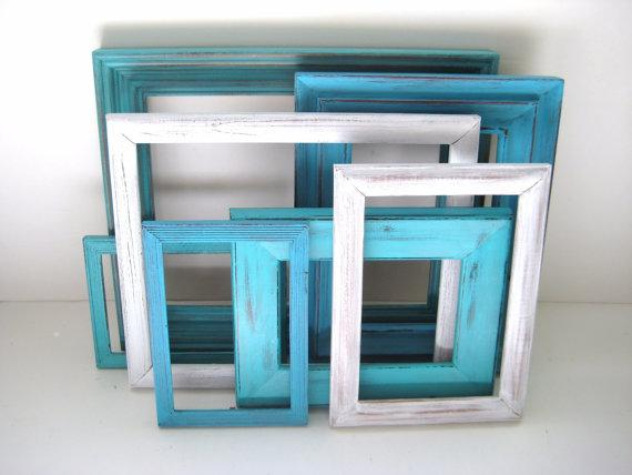 Turquoise Aqua White Picture Frames Gallery Of By