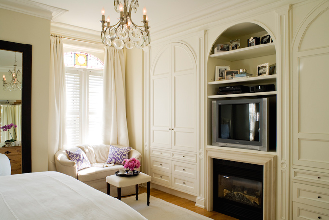 Bedroom fireplace and tv transitional bedroom mcgill for Bedroom built in wardrobe designs