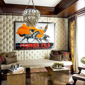 Antiqued Mirrored Cube Table, Eclectic, media room, Brandon Barre Photography