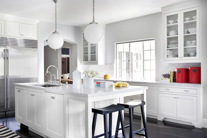 White Kitchen Countertops With White Cabinets white shaker cabinets with gray and white marble slab backsplash