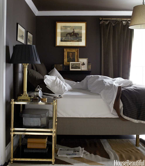 Brass etagere transitional bedroom house beautiful for Black white and brown bedroom ideas