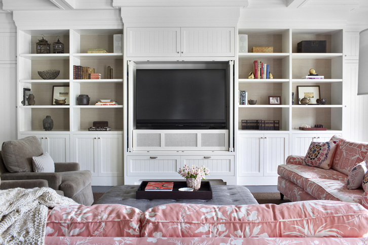 tv built ins transitional living room burnham design