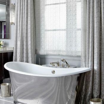 Gray Curtains, Transitional, bathroom, Brandon Barre Photography