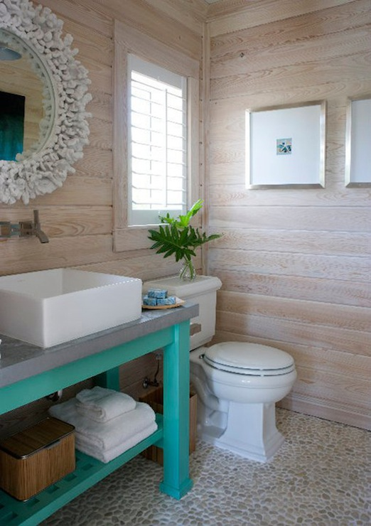 Coral mirror cottage bathroom caccoma interiors for Small pool house with bathroom
