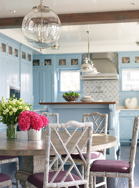 Gray Washed Bamboo Chairs  Cottage  dining room  Caccoma Interiors