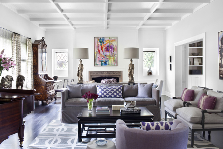 purple and gray living room with glossy white box beams purple velvet sofa purple chipper pillows gray chairs with plum pillows chinese black lacquer - Purple Living Room