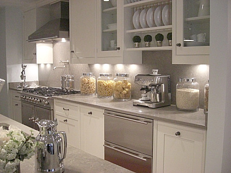 Ivory Kitchen Cabinets With Gray Granite Countertops