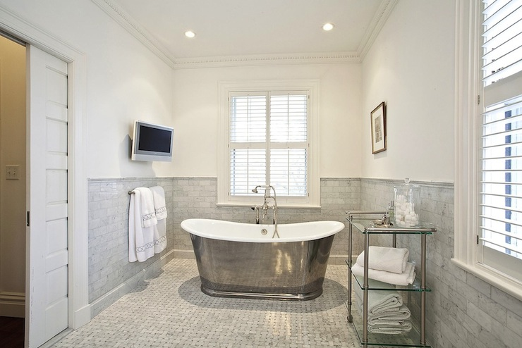 Waterworks Candide Freestanding Oval Cast Iron Bathtub, Transitional, bathroom, Pricey Pads