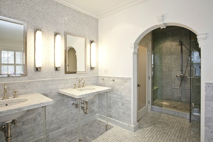 Arched Water Closet Doorway Mediterranean Bathroom