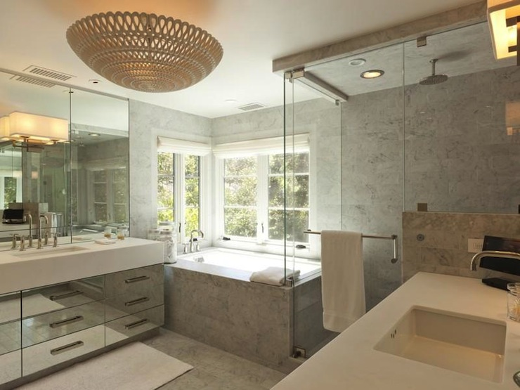 Mirrored Bathroom Vanity Contemporary Bathroom
