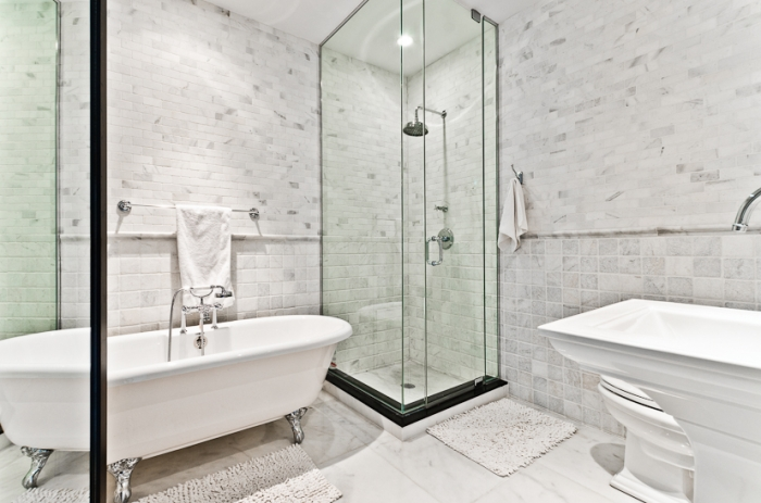 small glass shower transitional bathroom pricey pads