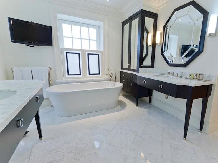 Octagon Mirror, Contemporary, bathroom, Pricey Pads