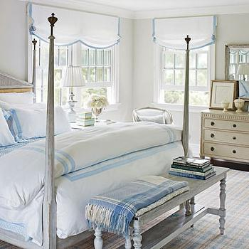 Gray Washed Bed and Gray Washed Bench, Cottage, bedroom, Benjamin Moore Morning Dew, Traditional Home