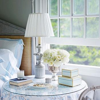 Skirted Nightstand, Cottage, bedroom, Benjamin Moore Morning Dew, Traditional Home