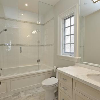 Herringbone Shower Surround, Transitional, bathroom, Pricey Pads