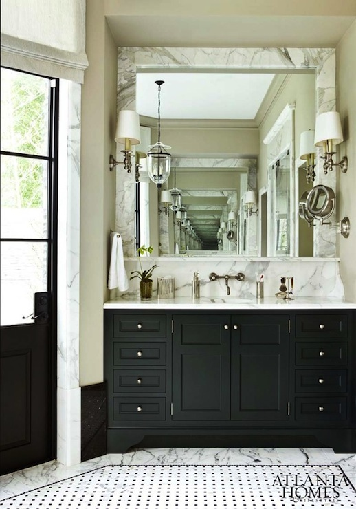 Black Bathroom Cabinets with White Marble Countertops