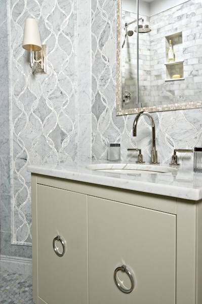 amazing bathroom with gray lacquer vanity with polished nickel rings and carrara marble top pearl bone inlay mirror and marble hex tile floor and bianco - White Marble Tile Bathroom