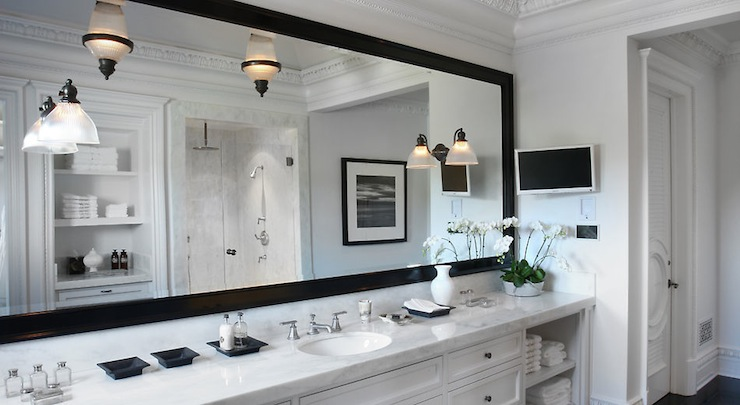 Superbe Master Bathroom With Crisp White Built In Vanity, White Marble Countertop,  Glossy Black Beveled Mirror, TV, Seamless Glass Shower And Water Closet  Featuring ...