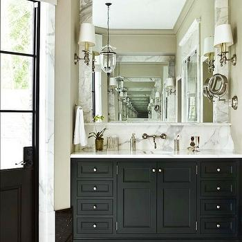 Black Bathroom Cabinets with White Marble Countertops, Traditional, bathroom, Atlanta Homes & Lifestyles