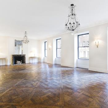 Parquet Wood Floors, Traditional, living room, Pricey Pads