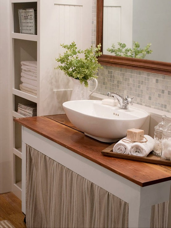 Cottage bathroom cottage bathroom the lettered cottage for Backsplash for bathroom sink ideas