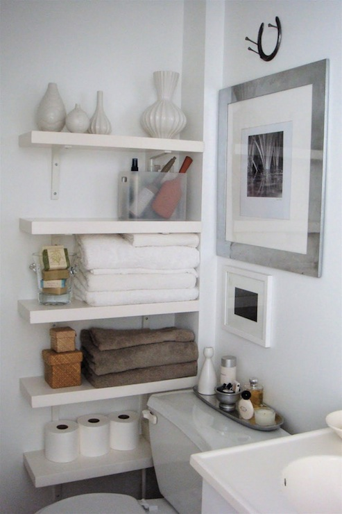 Floating Bathroom Shelves - Contemporary - bathroom - The Order Obsessed