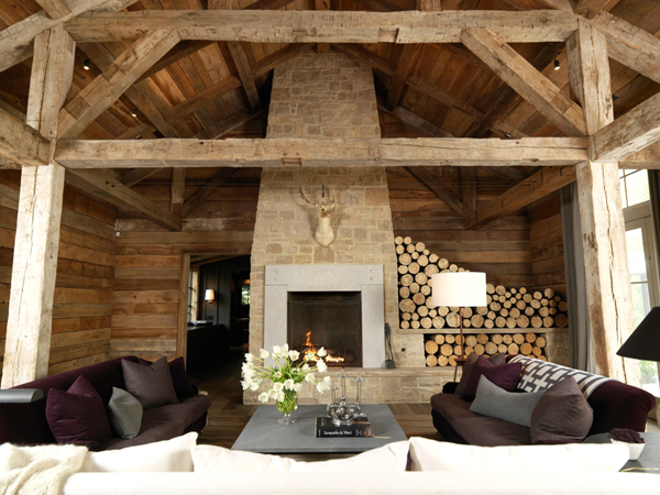 Floor to ceiling fireplace country living room m for M s living room ideas
