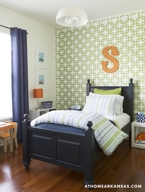 Geometric Wall Stencil Contemporary Boy S Room At Home In Arkansas