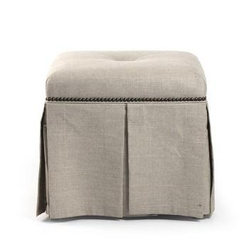 Eliza Linen Ottoman Bench in Natural, Vielle and Frances