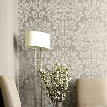 Large Wall Stencil Fabric Damask Allover by royaldesignstencils