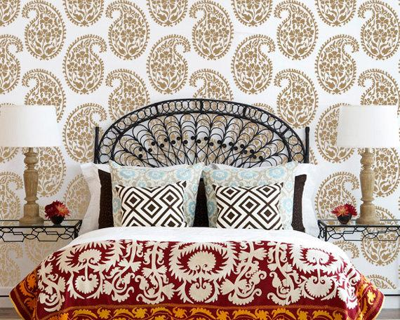 Indian paisley wall stencil for ethnic by royaldesignstencils for Interior wall designs india
