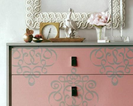 Furniture &Wall Stencil Small Ribbon Damask by royaldesignstencils