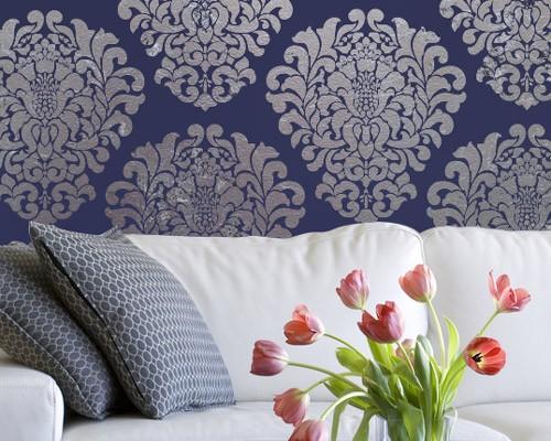 large wall stencil pattern grand damask by