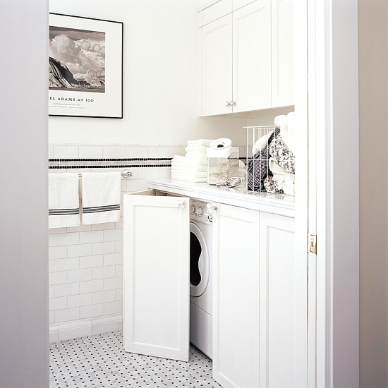 Hidden Washer And Dryer Contemporary Laundry Room