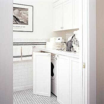 Hidden Washer and Dryer, Contemporary, laundry room