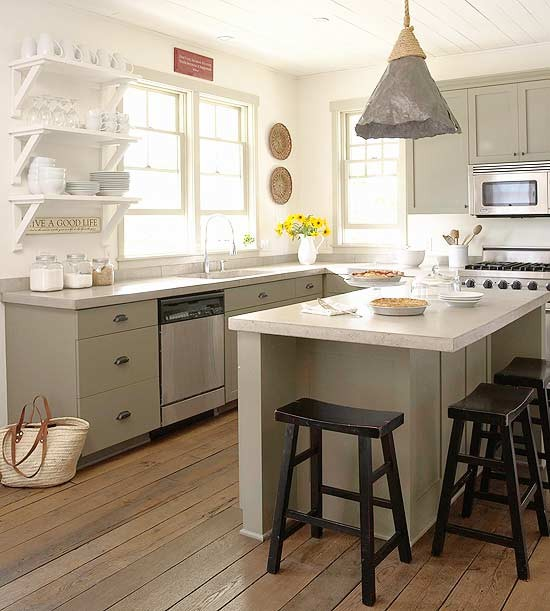 Green Kitchen Cabinets Images: Gray Green Cabinets Design Ideas