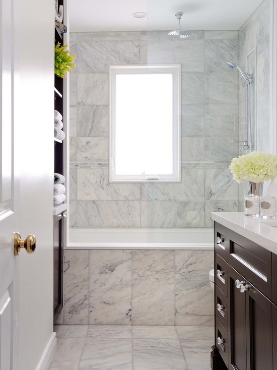 built in tub and shower. Elegant bathroom with drop in tub  marble subway tile shower surround glossy chocolate brown vanity rain head and built ins linen cabinet Drop In Tub Ideas Traditional Milton Development