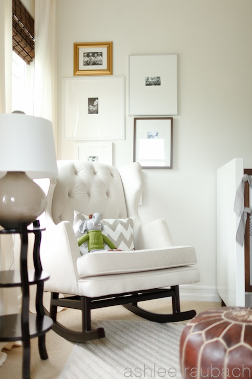 White Tufted Nursery Glider