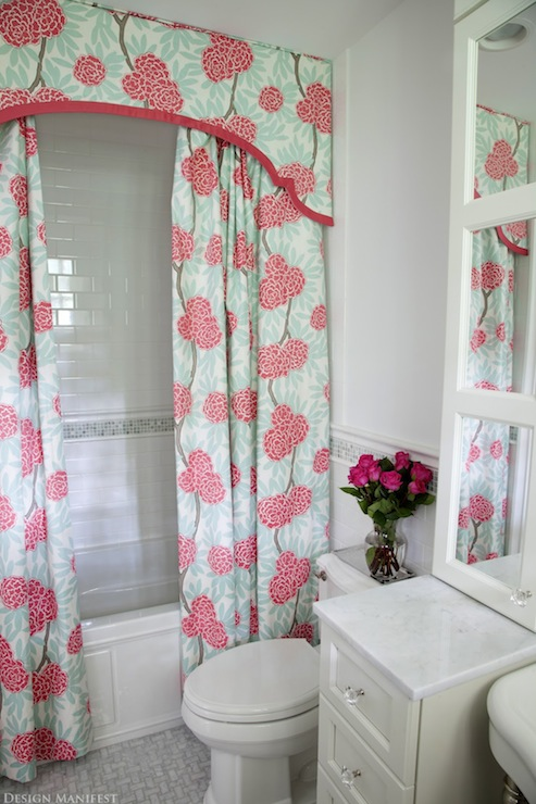 Shower curtain valance contemporary bathroom design Bathroom shower curtain ideas