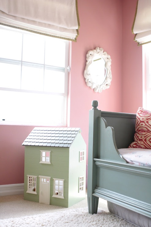 Sweet girl s room with pink paint color white roman shades with green