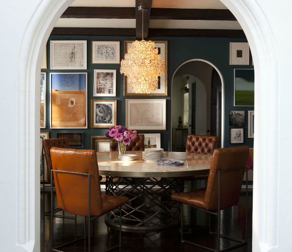 Eclectic Dining Room With Navy Blue Walls Arched Doorway Photo Gallery Round Metal Table Orange Leather Tufted Chairs And Glossy
