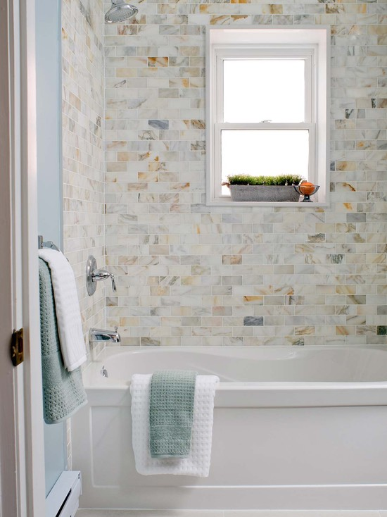 Drop In Tub With Calcutta Gold Marble Subway Tile Shower Surround
