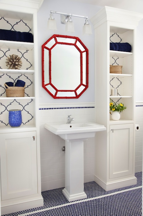 view full size. Contemporary Red And Blue Bathroom Navy Blue Trellis Wallpaper