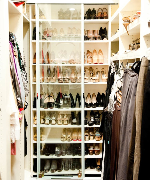 Adrienne Maloof   Walk In Closet With Sliding Glass Front Shoe Cabinet.