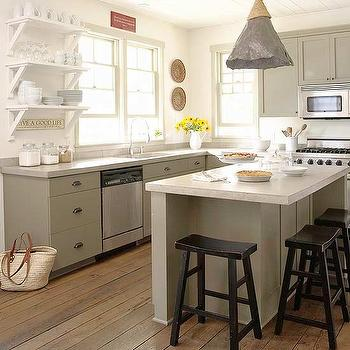gray green kitchen cabinets - Green Kitchen Cabinets